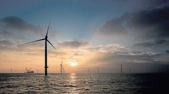 Windmill farm in the sea for green energy
