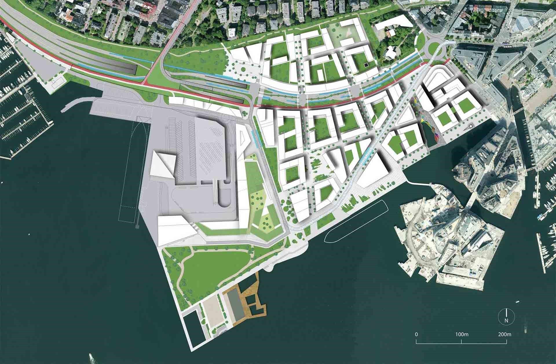 Alternativ 3 fra volumstudiene i illustrasjonsplanen for områdeplan på Filipstad-tomta